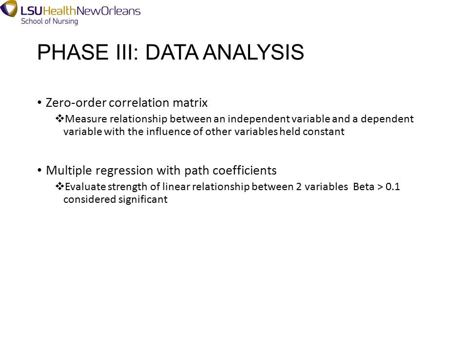 PHASE III: DATA ANALYSIS Zero-order correlation matrix  Measure relationship between an independent variable and a dependent variable with the influence of other variables held constant Multiple regression with path coefficients  Evaluate strength of linear relationship between 2 variablesBeta > 0.1 considered significant