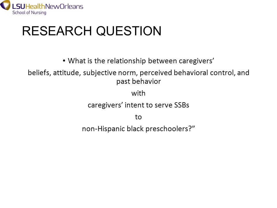 RESEARCH QUESTION What is the relationship between caregivers' beliefs, attitude, subjective norm, perceived behavioral control, and past behavior with caregivers' intent to serve SSBs to non-Hispanic black preschoolers?