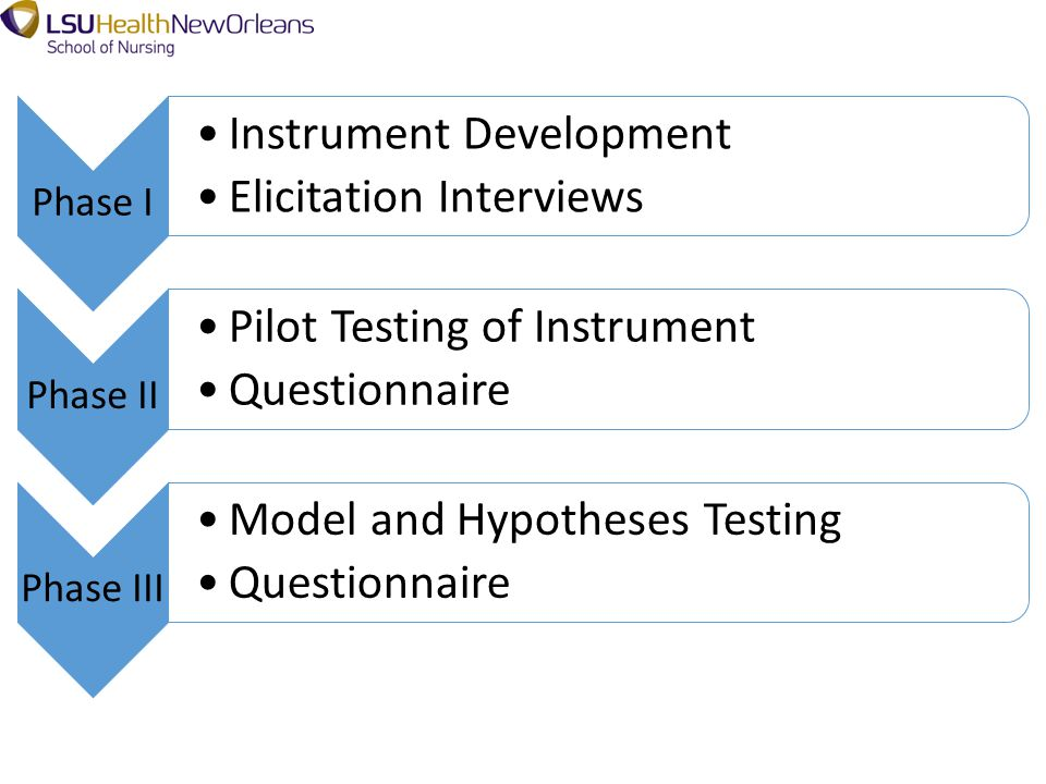 Phase I Instrument Development Elicitation Interviews Phase II Pilot Testing of Instrument Questionnaire Phase III Model and Hypotheses Testing Questionnaire