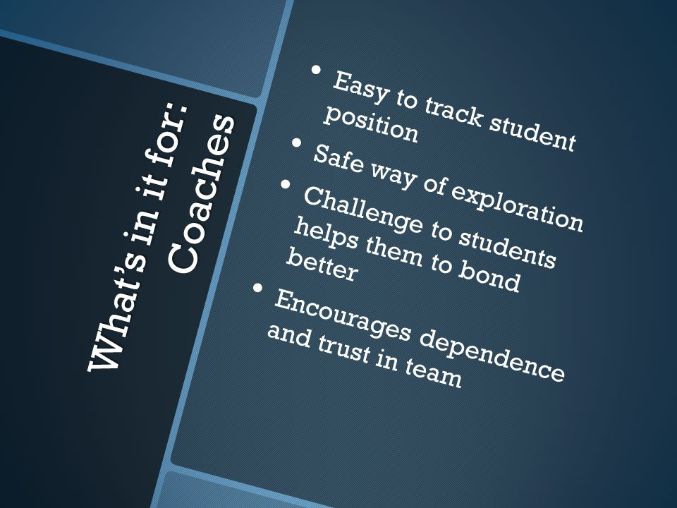 What's in it for: Coaches Easy to track student position Safe way of exploration Challenge to students helps them to bond better Encourages dependence