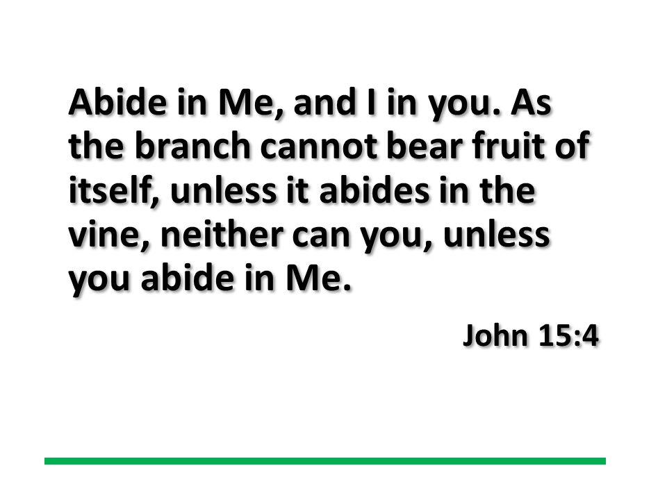 Abide in Me, and I in you. As the branch cannot bear fruit of itself, unless it abides in the vine, neither can you, unless you abide in Me. John 15:4