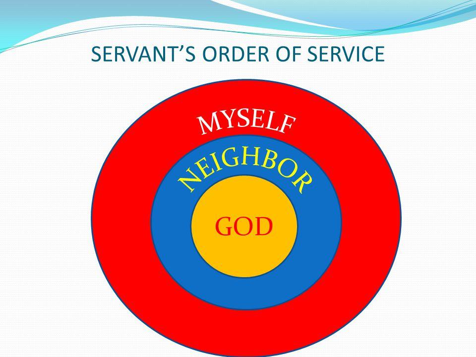 SERVANT'S ORDER OF SERVICE GOD
