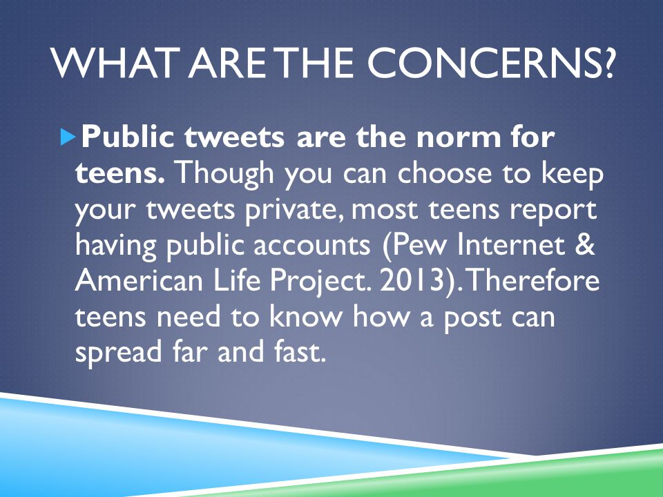 WHAT ARE THE CONCERNS. Public tweets are the norm for teens.