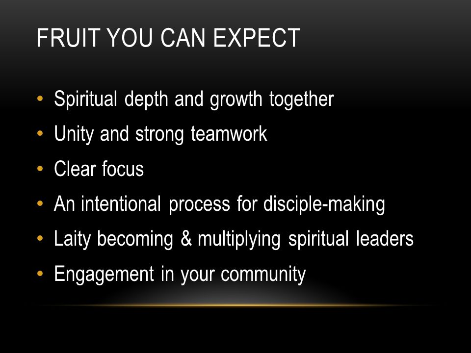 FRUIT YOU CAN EXPECT Spiritual depth and growth together Unity and strong teamwork Clear focus An intentional process for disciple-making Laity becomi