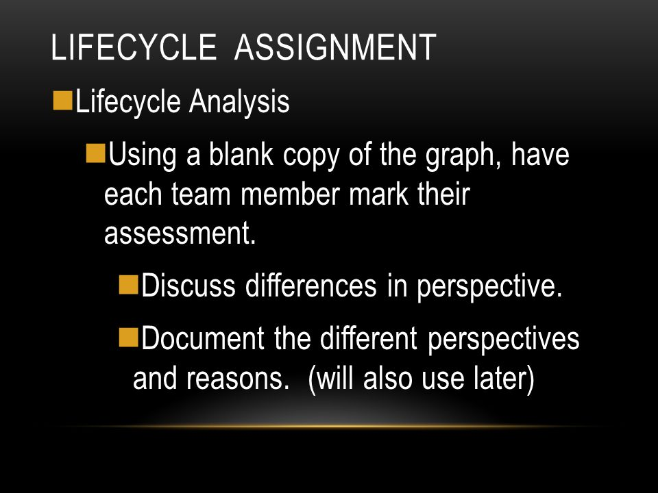 LIFECYCLE ASSIGNMENT Lifecycle Analysis Using a blank copy of the graph, have each team member mark their assessment. Discuss differences in perspecti