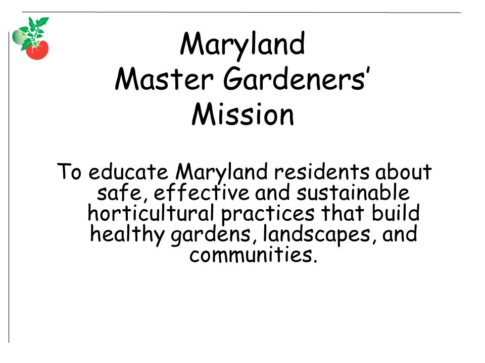 Maryland Master Gardeners' Mission To educate Maryland residents about safe, effective and sustainable horticultural practices that build healthy gardens, landscapes, and communities.