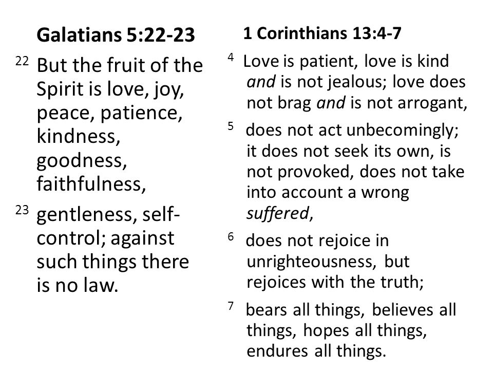 Galatians 5:22-23 22 But the fruit of the Spirit is love, joy, peace, patience, kindness, goodness, faithfulness, 23 gentleness, self- control; against such things there is no law.