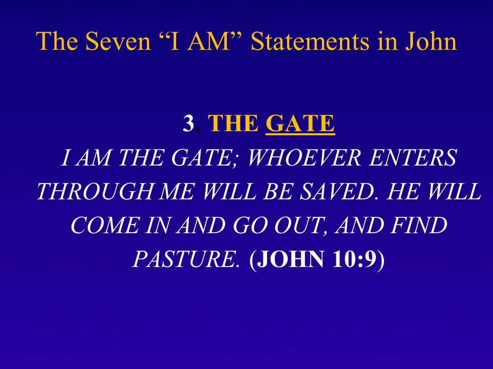 The Seven I AM Statements in John 3.