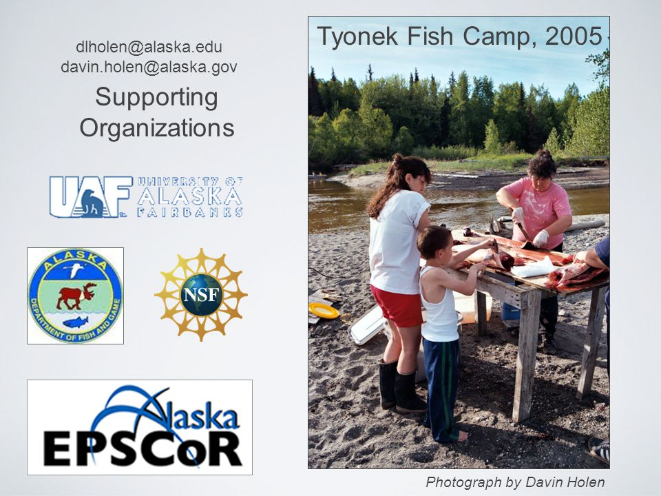 Supporting Organizations Tyonek Fish Camp, 2005 Photograph by Davin Holen dlholen@alaska.edu davin.holen@alaska.gov