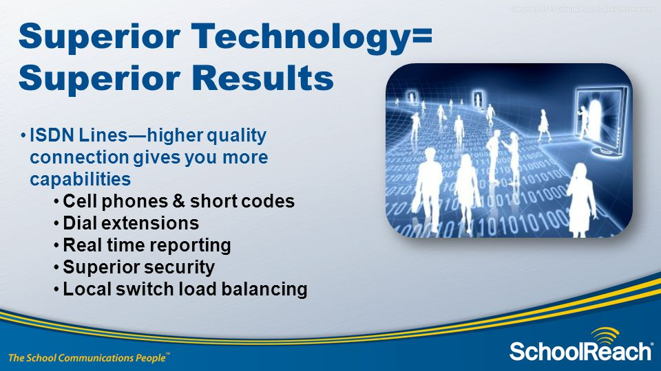 Superior Technology= Superior Results ISDN Lines―higher quality connection gives you more capabilities Cell phones & short codes Dial extensions Real time reporting Superior security Local switch load balancing