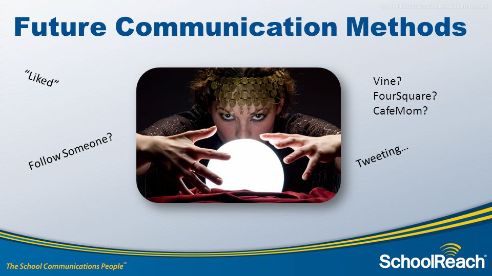 Future Communication Methods Liked Tweeting… Follow Someone? Vine? FourSquare? CafeMom?