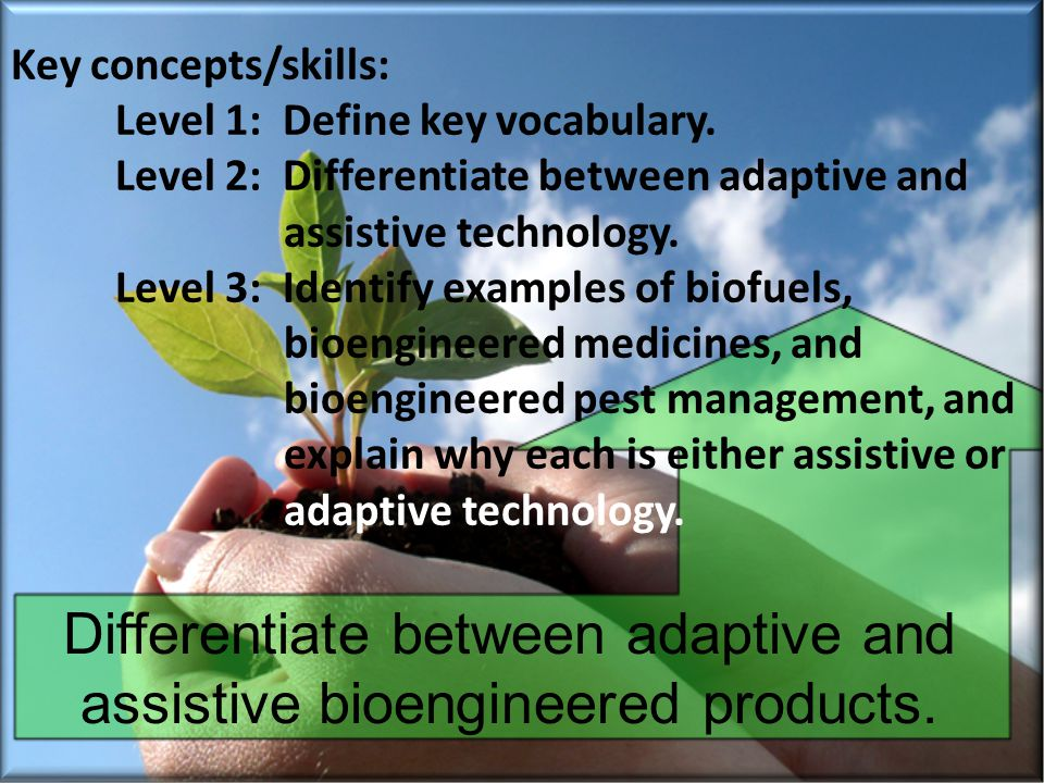 Key concepts/skills: Level 1: Define key vocabulary. Level 2: Differentiate between adaptive and assistive technology. Level 3: Identify examples of b