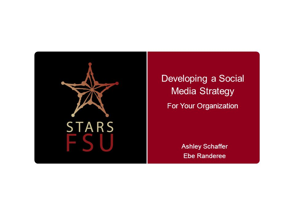 Developing a Social Media Strategy Ashley Schaffer Ebe Randeree For Your Organization