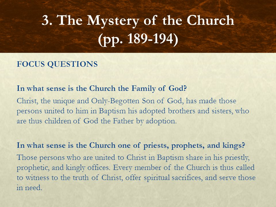 FOCUS QUESTIONS In what sense is the Church the Family of God? Christ, the unique and Only-Begotten Son of God, has made those persons united to him i