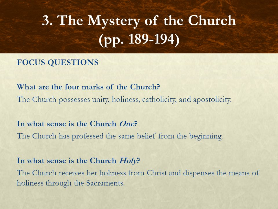 FOCUS QUESTIONS What are the four marks of the Church? The Church possesses unity, holiness, catholicity, and apostolicity. In what sense is the Churc