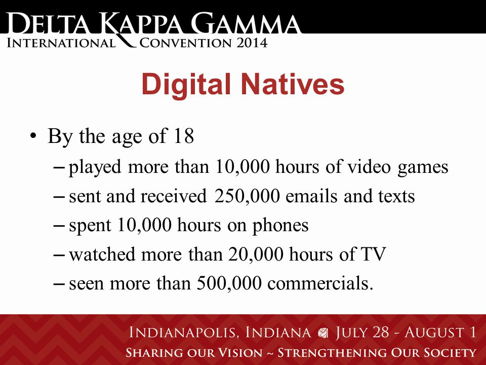 Digital Natives By the age of 18 – played more than 10,000 hours of video games – sent and received 250,000 emails and texts – spent 10,000 hours on phones – watched more than 20,000 hours of TV – seen more than 500,000 commercials.