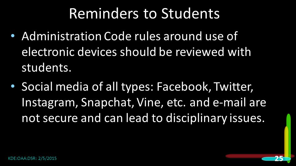 Reminders to Students Administration Code rules around use of electronic devices should be reviewed with students.