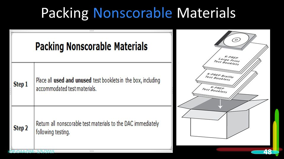 Packing Nonscorable Materials KDE:OAA:DSR: 2/5/2015 48