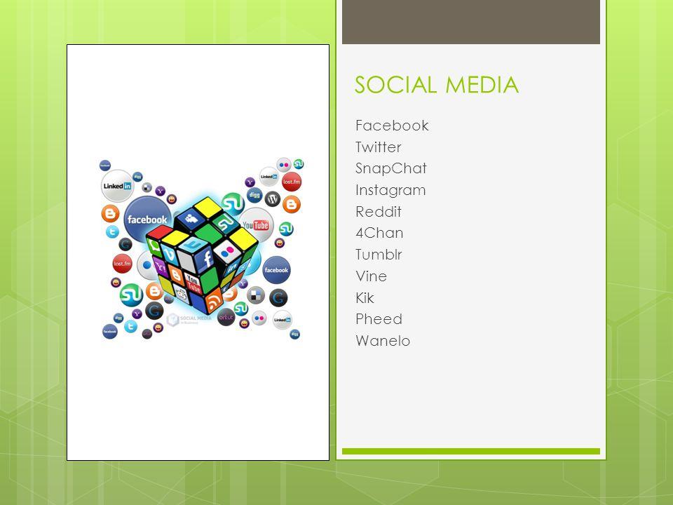 SOCIAL MEDIA Facebook Twitter SnapChat Instagram Reddit 4Chan Tumblr Vine Kik Pheed Wanelo