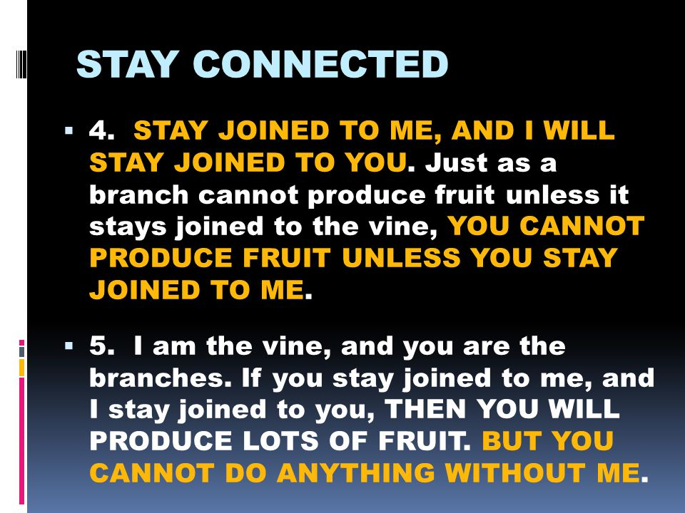 WHY STAY CONNECTED. DRAW LIFE FROM THAT VINE BY STAYING CONNECTED TO HIM IN HIS WORD.