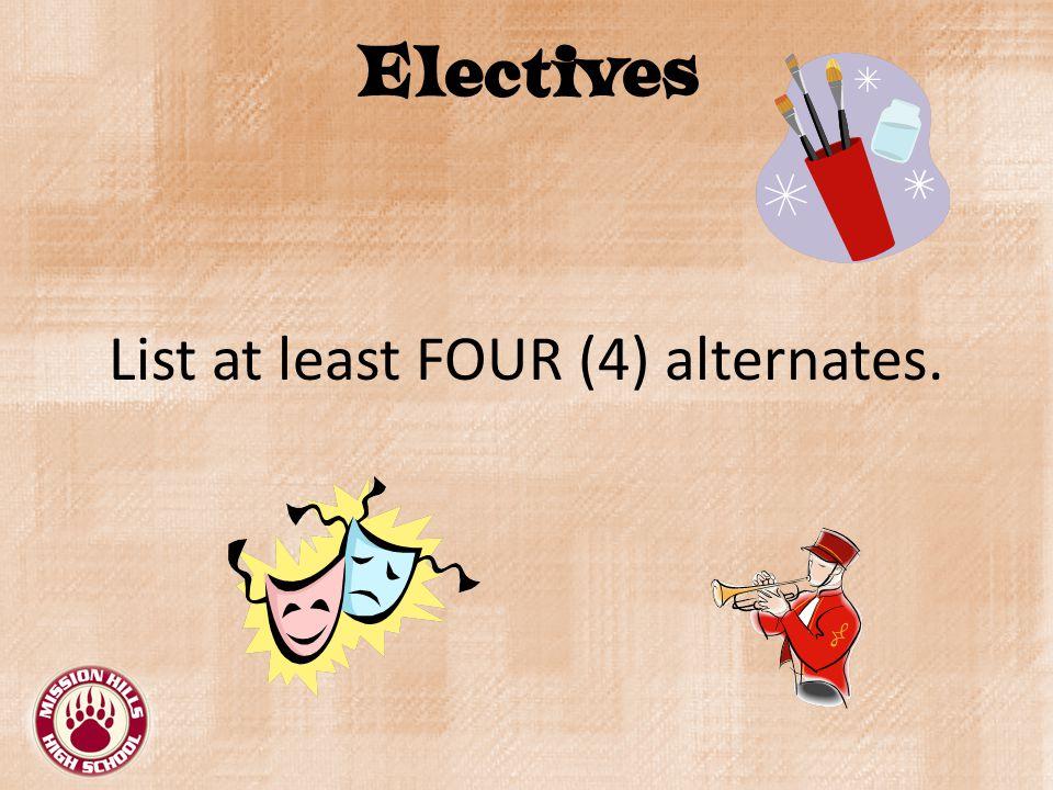Electives List at least FOUR (4) alternates.
