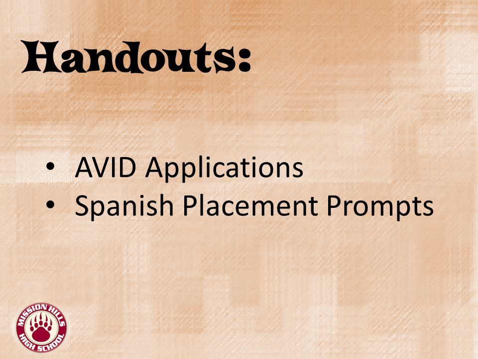 Handouts: AVID Applications Spanish Placement Prompts