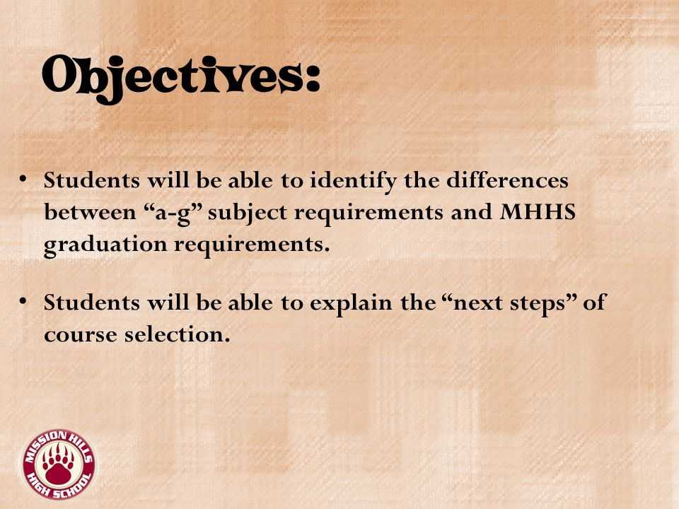Objectives: Students will be able to identify the differences between a-g subject requirements and MHHS graduation requirements.