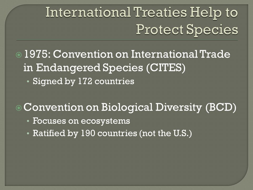  1975: Convention on International Trade in Endangered Species (CITES) Signed by 172 countries  Convention on Biological Diversity (BCD) Focuses on