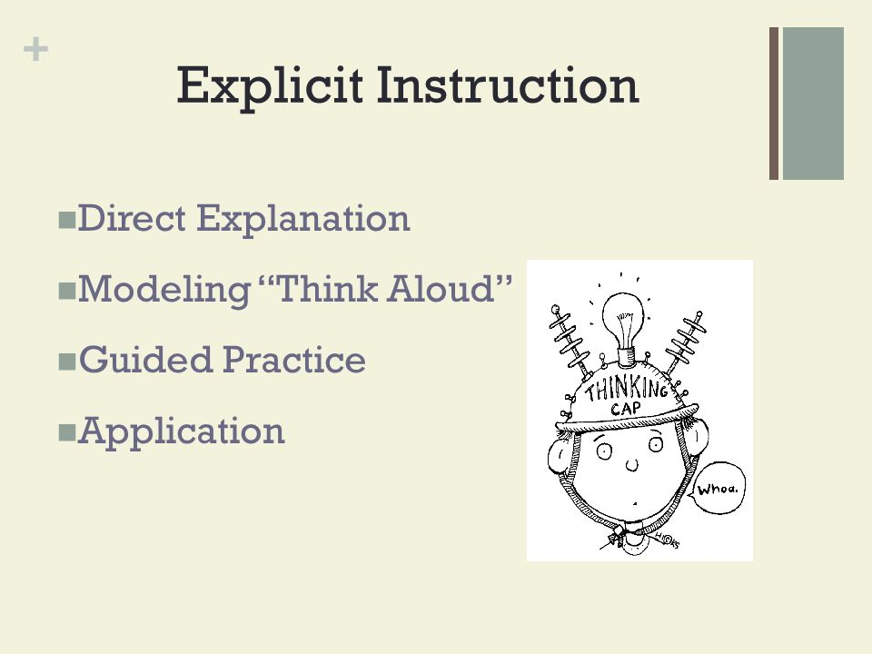 """+ Explicit Instruction Direct Explanation Modeling """"Think Aloud"""" Guided Practice Application"""