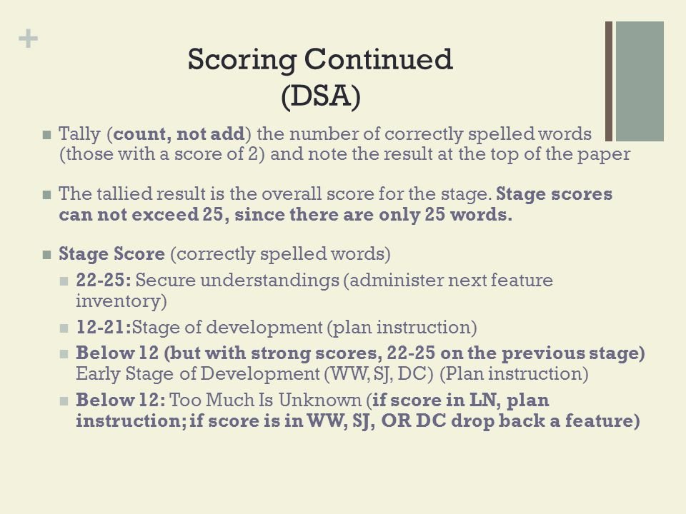 + Scoring Continued (DSA) Tally (count, not add) the number of correctly spelled words (those with a score of 2) and note the result at the top of the