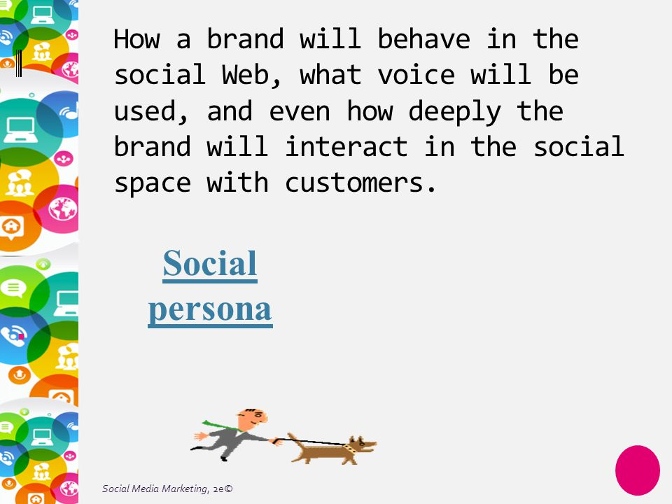 Social Media Marketing, 2e© How a brand will behave in the social Web, what voice will be used, and even how deeply the brand will interact in the social space with customers.