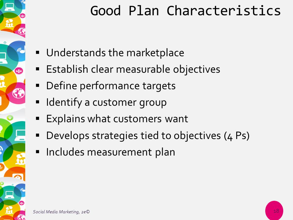 Good Plan Characteristics  Understands the marketplace  Establish clear measurable objectives  Define performance targets  Identify a customer group  Explains what customers want  Develops strategies tied to objectives (4 Ps)  Includes measurement plan Social Media Marketing, 2e© 18