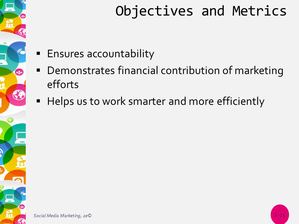 Objectives and Metrics  Ensures accountability  Demonstrates financial contribution of marketing efforts  Helps us to work smarter and more efficiently Social Media Marketing, 2e© 2-23