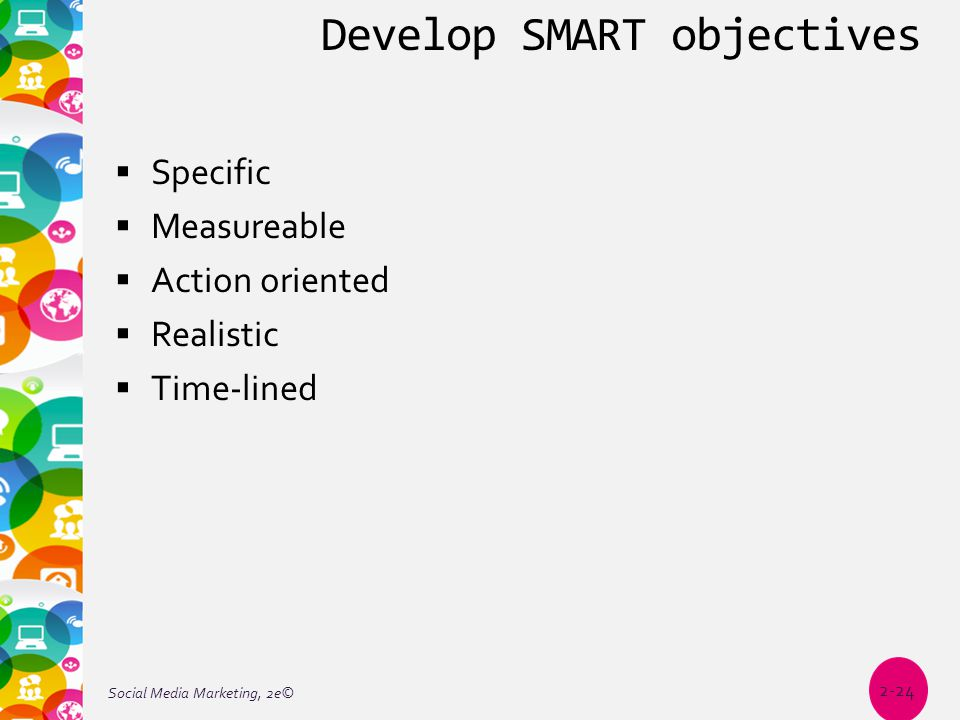 Develop SMART objectives  Specific  Measureable  Action oriented  Realistic  Time-lined Social Media Marketing, 2e© 2-24