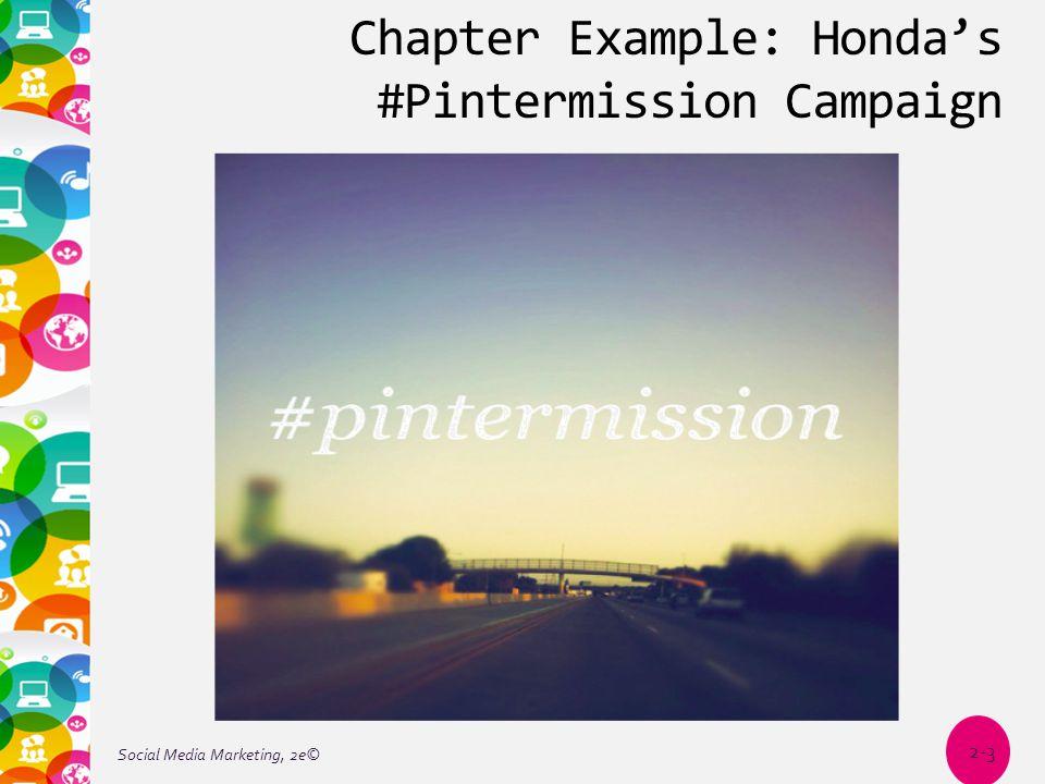 Chapter Example: Honda's #Pintermission Campaign Social Media Marketing, 2e© 2-3