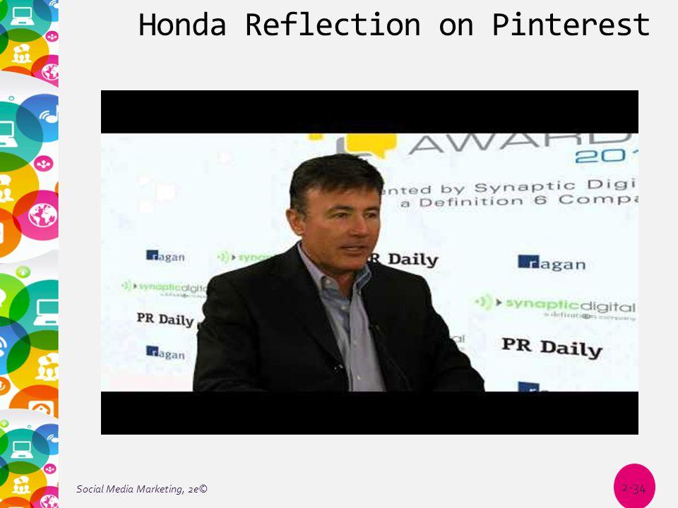 Honda Reflection on Pinterest Social Media Marketing, 2e© 2-34