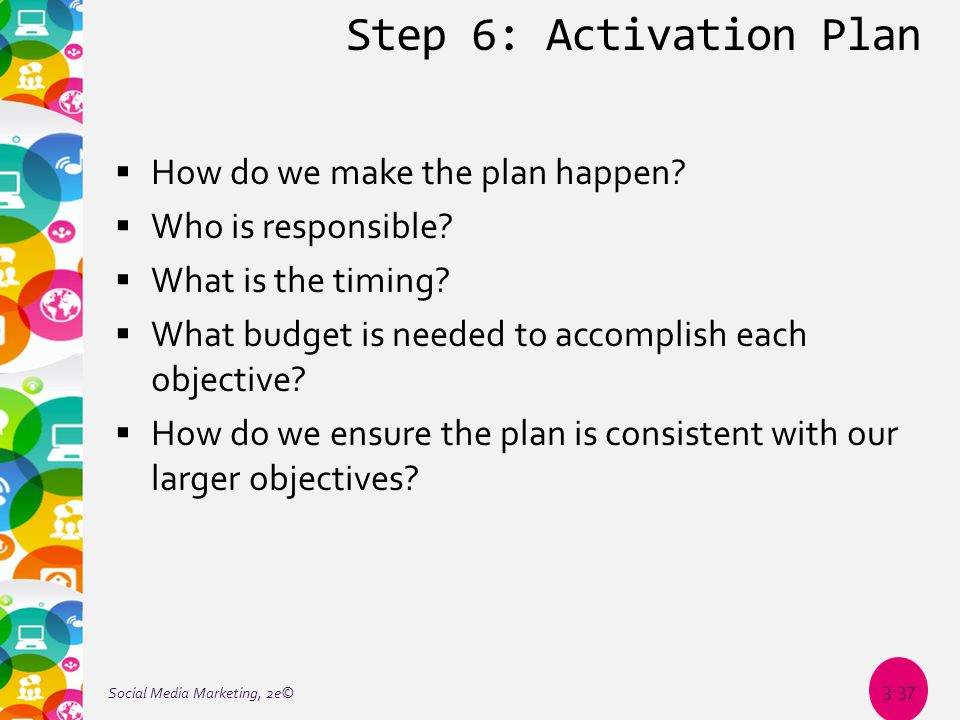 Step 6: Activation Plan  How do we make the plan happen.