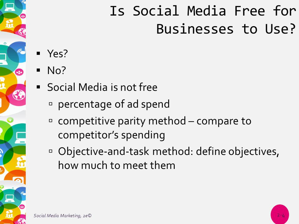 Is Social Media Free for Businesses to Use?  Yes?  No?  Social Media is not free  percentage of ad spend  competitive parity method – compare to