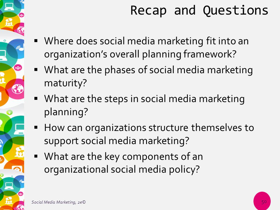 Recap and Questions  Where does social media marketing fit into an organization's overall planning framework?  What are the phases of social media m