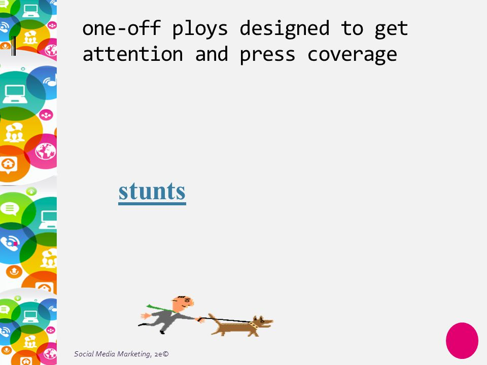 Social Media Marketing, 2e© one-off ploys designed to get attention and press coverage stunts