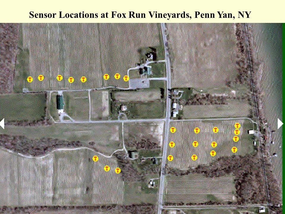 Sensor Locations at Fox Run Vineyards, Penn Yan, NY