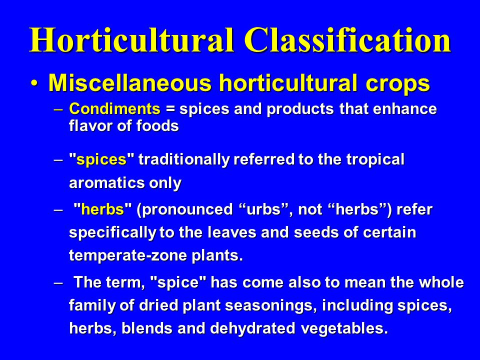 Horticultural Classification Miscellaneous horticultural cropsMiscellaneous horticultural crops –Condiments = spices and products that enhance flavor of foods – spices traditionally referred to the tropical aromatics only – herbs (pronounced urbs , not herbs ) refer specifically to the leaves and seeds of certain temperate-zone plants.