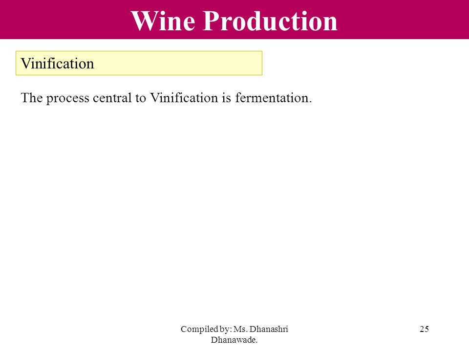 Compiled by: Ms. Dhanashri Dhanawade. 25 Wine Production Vinification The process central to Vinification is fermentation.