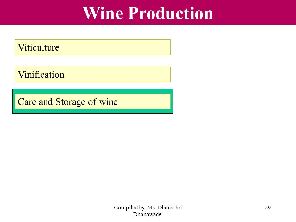 Compiled by: Ms. Dhanashri Dhanawade. 29 Wine Production Viticulture Vinification Care and Storage of wine