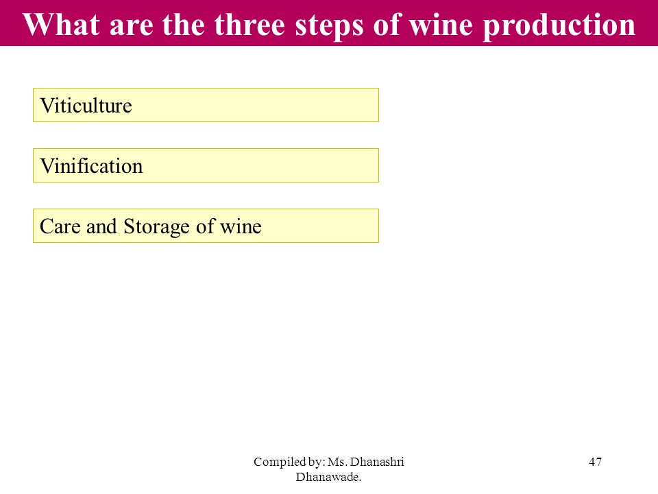Compiled by: Ms. Dhanashri Dhanawade. 47 What are the three steps of wine production Viticulture Vinification Care and Storage of wine