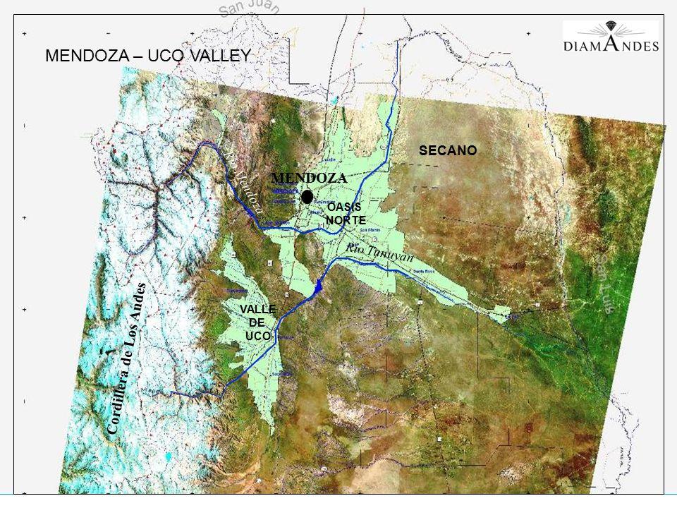 Satelital Valle de Uco SECANO VALLE DE UCO Río Mendoza MENDOZA Cordillera de Los Andes Río Tunuyan OASIS NORTE MENDOZA – UCO VALLEY
