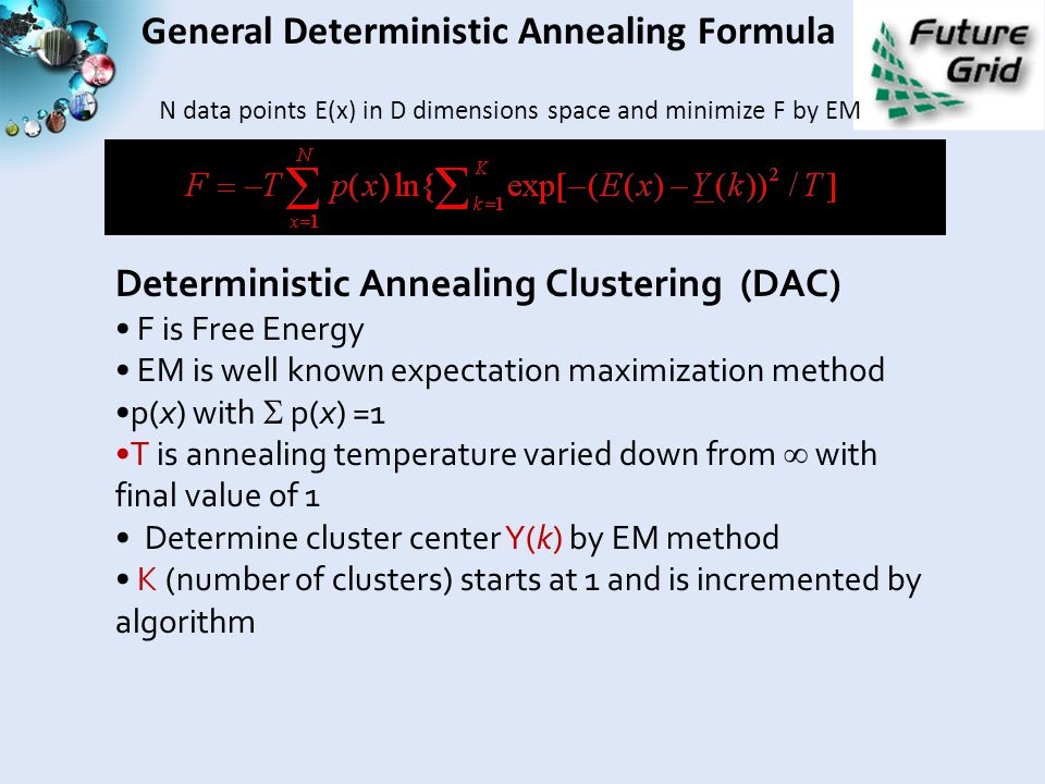 General Deterministic Annealing Formula N data points E(x) in D dimensions space and minimize F by EM Deterministic Annealing Clustering (DAC) F is Free Energy EM is well known expectation maximization method p(x) with  p(x) =1 T is annealing temperature varied down from  with final value of 1 Determine cluster center Y(k) by EM method K (number of clusters) starts at 1 and is incremented by algorithm