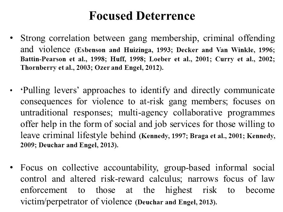 Strong correlation between gang membership, criminal offending and violence (Esbenson and Huizinga, 1993; Decker and Van Winkle, 1996; Battin-Pearson et al., 1998; Huff, 1998; Loeber et al., 2001; Curry et al., 2002; Thornberry et al., 2003; Ozer and Engel, 2012).