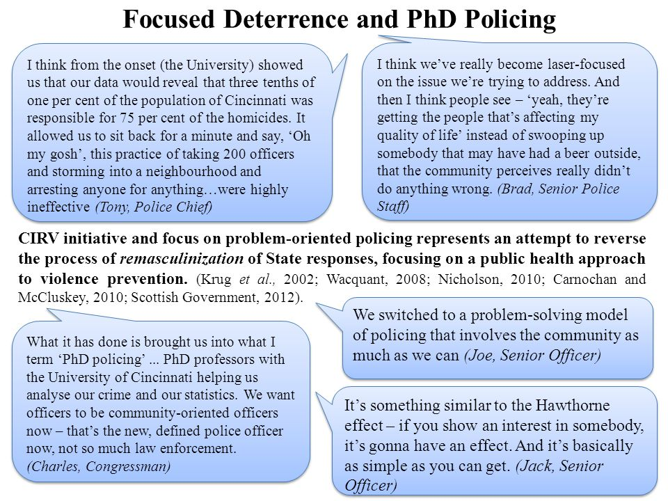 Focused Deterrence and PhD Policing CIRV initiative and focus on problem-oriented policing represents an attempt to reverse the process of remasculinization of State responses, focusing on a public health approach to violence prevention.