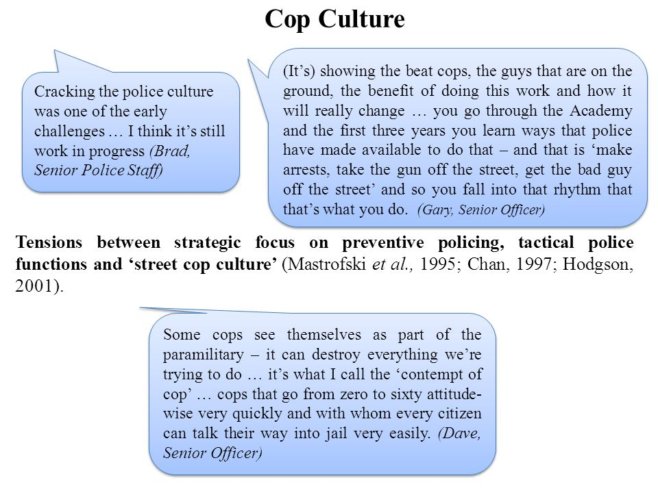 Cop Culture Tensions between strategic focus on preventive policing, tactical police functions and 'street cop culture' (Mastrofski et al., 1995; Chan, 1997; Hodgson, 2001).